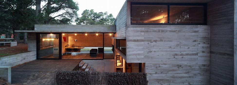 Современный частный дом из бетона Casa Pedroso в лесу в Мар Асуль